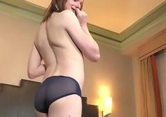 Ginger tranny massages her pest and masturbates off