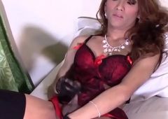 Gorgeous piladyboy plays with her fixed cock