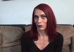 Casting mature tranny jerks her permanent dick