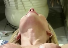 Shegirl with broad in the beam prick shoots jizz tax all over her viscera