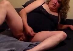 blonde crossdresser ass fucking sex with vibrator and spunking
