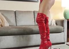 Solo ebony tgirl stripping coupled with masturbating