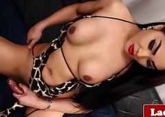 Stroking oriental tranny jerks her cock