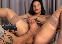 Lady-boy Bruna Castro acquires the brush prostate finger-tickled