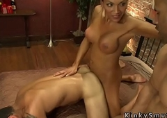 Mr Big tranny anal bangs two guys