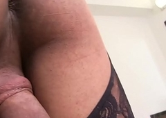 Tattooed shemale beauty pulling the brush big cock