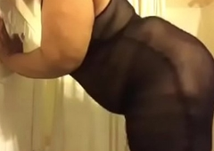 Shemale BBW plays all over herself in shower