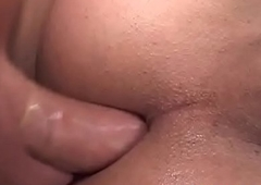 Stockinged shemale assfucked in threesome