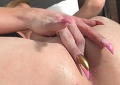 Inked full-grown tranny strokes her everlasting cock