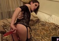 Stockinged femboi asstoying and masturbating