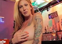Inked trans stunner humps bartender for drinks