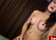 Snazzy ladyboy solo spreading ass and wanking