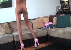 Casting receiver pulling her cock at try out