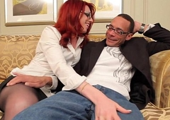 Redhead tgirl in spex plowed deep in will not hear of butt