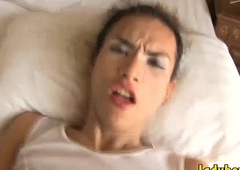 Naughty ladyboy gets her asshole jammed without a condom in bed
