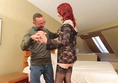 Redhead shemale plowed deeply with cock