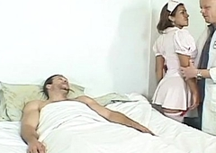 Shemale nurse assfucked by unchanging cocks