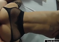 Kinky ladyboy with glasses charm oral and assfuck doggy