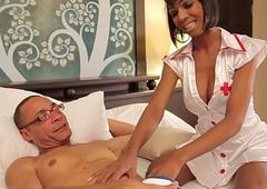 Black tranny nurse buttfucked by patient