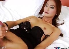Suspended Asian Tgirl Toon Masturbates