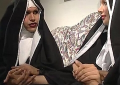 Two nuns are comforting a sister, but she don'_t perceive they'_re one horny shemales!