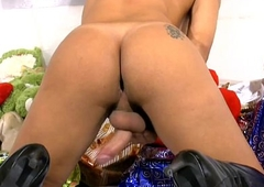 Teen receiver Santa in black boots unleashes cock together with balls