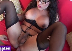 Busty glam tranny assfucked after blowjob