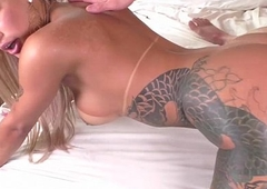 Hot blonde tgirl Polly A gets their way acquisitive stinky shecock wide of a brick