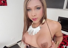 Frisky transsexual shows off nicely