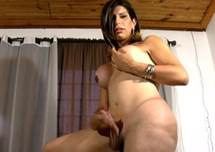 Kinky tranny touches her nigh breasts and shaved ladystick