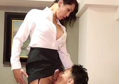 Unpaid newhalf fucked into ass with regard to stockings