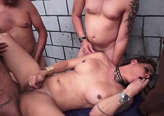Busty Latin chick Tranny Group Group-sex