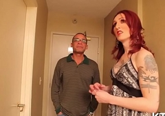 T-girl jerks off and rails