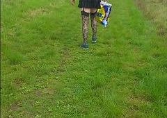 crossdressing sissy walking in public nearby acquires seen and runs away