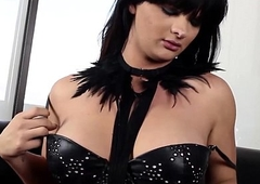 Deviant shemale in corset wanking missing