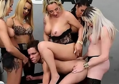 Guy gets team-fucked by five latin tranny pornographic stars