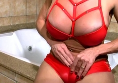 Mature shemale all round glum red outfit strokes bigtits and t-dick