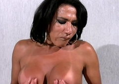 Mature tranny shows extremely broad in the beam tits and wanks monstercock