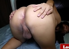 T-girl tugging the brush bushwa out of reach of bed