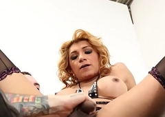 Bigtitted tranny fucked right into an asshole before switching