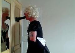 milquetoast ken maid engulfing dildo in chastity