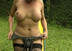 Ample transsexual campagna stockings is jerking off her shecock