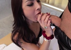 Latex loving ladyboy assfucked before facial