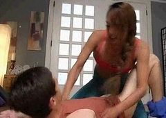 Tranny Domme Ruins a Virgin Male!