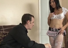 Sexy trannie Vivian Rockwell acquire deep throated and anal rides a cock
