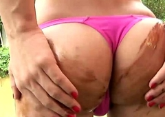 On the move video of beautiful tgirl with puffy nipples jerking off