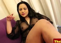 Domineer asian tranny in lingerie jerking lacking