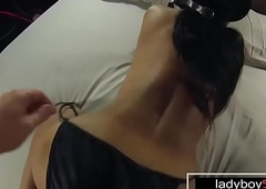 Big titties transsexual Nadia makes her peculiar anal coming out on camera