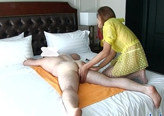 Ladyboy gives a rimjob massage and gets the brush asshole fucked