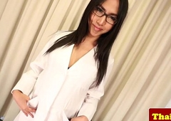 Asian sheboy doctor beside glasses strips